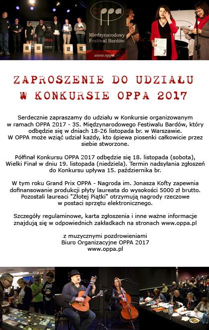 Zaproszenie do udziału w konkursie OPPA 2017 - 35. Międzynarodowego Festiwalu Bardów